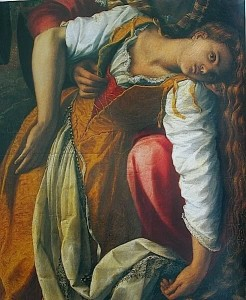 This woman wears a tawny petticoat with a red stomacher beneath. Detail from San Fiacre healing the sick by Alessandro Allori, c. 1596