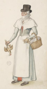 This English countrywoman in London was drawn by Lucas de Heere c. 1570. Note the red visible beneath her outermost layer--a red petticoat, most likely.