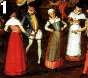 The woman in the center is wearing a petticoat bodies with a reddish skirt and blue bodice.