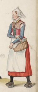 This servant wears a red petticoat with a green stomacher beneath it and sleeves pinned to the shoulder straps. Lucas de Heere, c. 1570