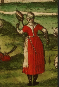 The shepherdess wears a red petticoat over her smock, one with short sleeves. Detail from Civitates Orbis Terrarum, c. 1586