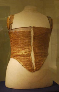 "A bodice discovered in a well in prague, and dated to the 1560s, also resembles a classic petticoat bodice. the outer fabric was originally a crimson and metal thread brocade--similar to the ""tinsel"" of the Elizabethan era--and was lined with a dark pink double-woven silk."