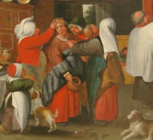 A bride being prepared for her wedding wears a red petticoat beneath her gown, as does the woman assisting her. Detail from A Peasant Wedding by Marten van Cleve, c. 1550s-1560s