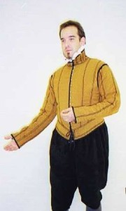 Basic doublet, made by Mathew Gnagy. light peascod, gently padded