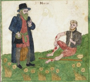 "Depiction of the virtue ""Mercy""--a man helping a leper. Trevilian Miscellany, 1602"