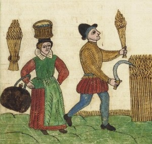 Peasants harvesting grain. Trevilian Miscellaney, 1602